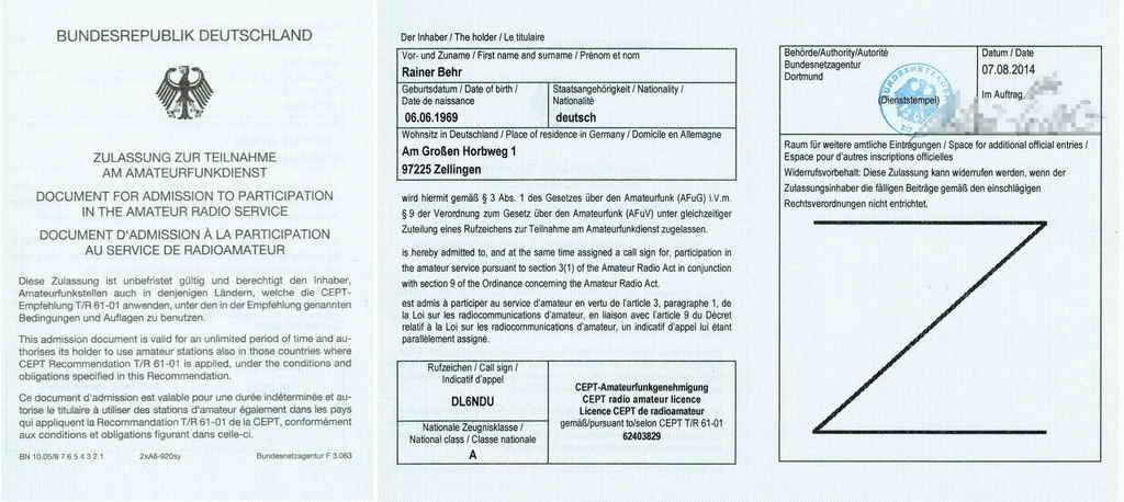 Hier ist meine Zulassung zum Amateurfunkdienst ( Amateurfunk Lizenz ).
